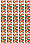 Seychelles Flag Stickers - 65 per sheet